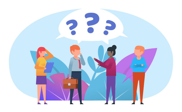 People thinking, confused. People communicate, chat, talk, question marks above head. Poster for social media, web page, banner, presentation. Flat design vector illustration