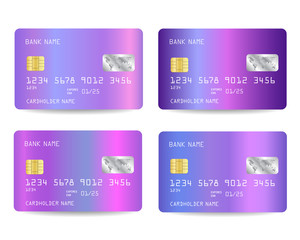 Vector Realistic detailed credit cards with holographic background