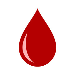 Red blood drop / droplet flat vector icon for medical apps and websites