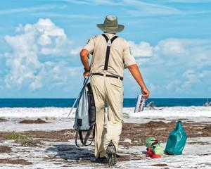 Bird steward setting up on the beach