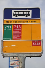 Sign at temporary bus station Hoek van Holland where stop is created for the Hoekse Lijn but still not running due to technical issues