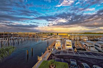 Sunset's glow over the marina