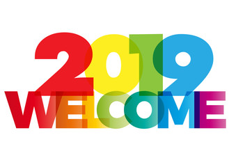 welcome new year 2019 creative colorful text