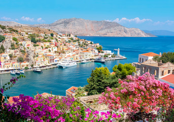Symi town cityscape, Dodecanese islands, Greece