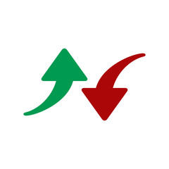 Red and green arrows icon. Vector illustration isolated on white background. Symbols of moving up and down. Crisis and success concept.