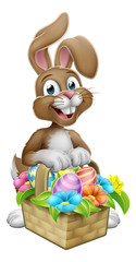 An Easter bunny rabbit cartoon character with a basket on an Easter egg hunt