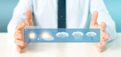 Businessman holding a Weather Forecast widget 3d rendering