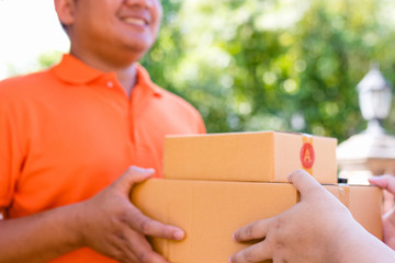 Customer receiving the parcel from delivery man.