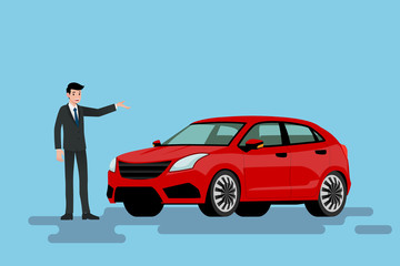 A happy businessman is standing and present  his red car that parked on the street.Vector illustration design.