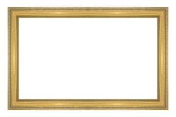 antique gold picture frame isolated on white background