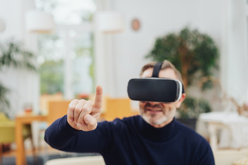 Man using 3D virtual reality headset