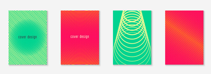 Gradient cover template. Green and yellow. Hipster mobile screen, notebook, annual report, journal mockup. Gradient cover template with line geometric elements and shapes.