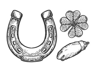 Luck talisman objects horseshoe clover rabbit paw engraving vector illustration. Scratch board style imitation. Black and white hand drawn image.