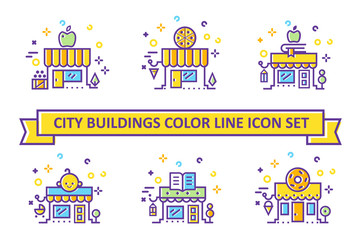 Big City Shop and Store Building color line icon set. Vector illustration, flat style.