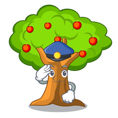 Police apple orchard with basket of cartoon