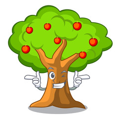 Wink apple tree full of isolated mascot