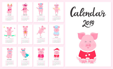 Calendar for 2019 from Sunday to Saturday. Cute pigs in different costumes. Superhero, sailor in a vest, unicorn, Santa Claus. Funny animal. The symbol of the Chinese New Year. Piggy cartoon character