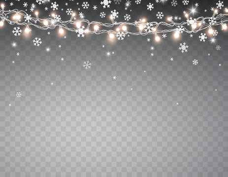 Snow with glowing Christmas lights isolated on transparent background. Vector snowfall, white snowflakes falling and Xmas garlands string.