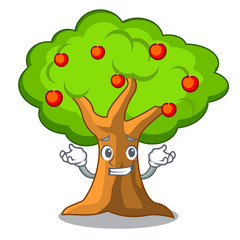 Grinning apple tree full of isolated mascot