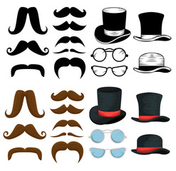 set male mustaches style with hats and glasses