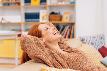 Smiling happy woman enjoying herself