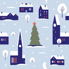 Seamless pattern for winter, new year and christmas theme. Small cute town, decorated for the New Year holidays in the snow. Christmas picture. Vector flat cartoon illustration.