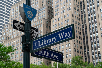fifth avenue sign new york library way street