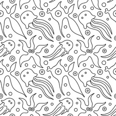 Seamless vector black and white background with hand drawn decorative childlike fish, jellyfish, octopus, starfish. Graphic illustration. Print for wrapping, wallpaper, background, surface, packaging