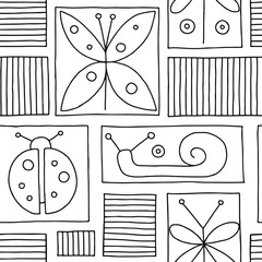 Seamless vector black and white background with hand drawn decorative childlike butterfly, ladybug, snail, dragonfly. Graphic illustration. Print for wrapping, wallpaper, background, packaging