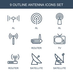 antenna icons. Set of 9 outline antenna icons included al, , router, TV, satellite on white background. Editable antenna icons for web, mobile and infographics.
