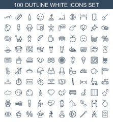 white icons. Set of 100 outline white icons included checklist, compass, nailfile, shield, doctor with medical reflector on white background. Editable white icons for web, mobile and infographics.