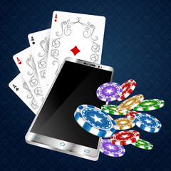 Playing cards with chips and smartphone. Design for online casinos