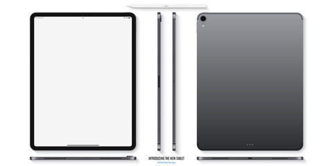 tablet mockup in grey color with blank screen front, back and side on white background. stock vector illustration eps10