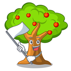 With flag apple tree in agriculture the cartoon
