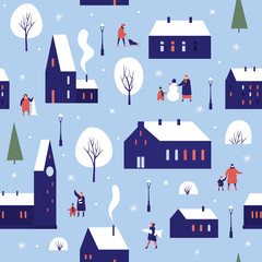 Winter houses for Christmas fabrics and decor. Urban winter landscape with various buildings, towers and walking people. Cute town, decorated for New Year. Seamless background. Vector illustration.
