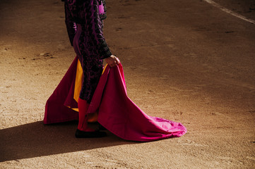 Bullfighter holding up the cape