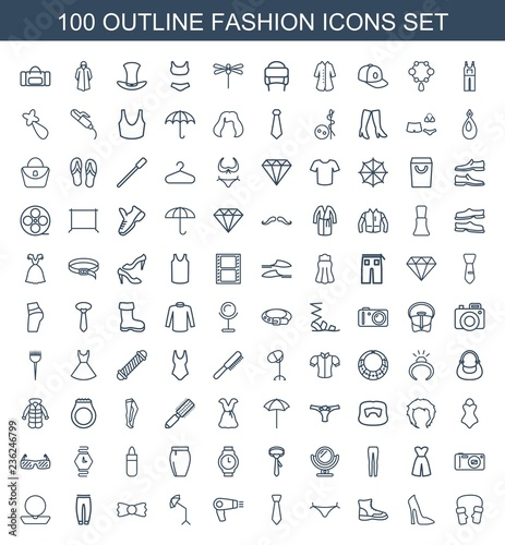 15c45b2e fashion icons. Set of 100 outline fashion icons included mittens, woman shoe,  boot, panties, tie, hair dryer on white background. Editable fashion icons  for ...