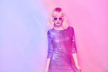 Wall Mural - Fashion. Disco Party girl dance in Holiday Outfit