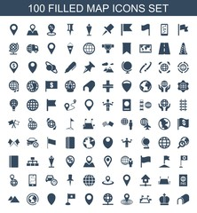 map icons. Set of 100 filled map icons included tunnel, crown, locations, map location, globe, location, flag on white background. Editable map icons for web, mobile and infographics.