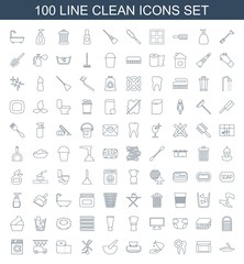 clean icons. Set of 100 line clean icons included soap, cream box, dental care, liquid soap, baby napkin, bucket on white background. Editable clean icons for web, mobile and infographics.
