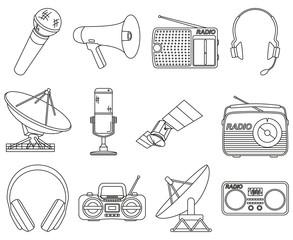 Line art black white 12 telecommunication elements