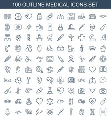 medical icons. Set of 100 outline medical icons included hospital, dna, nurse, test tube, pipette, sperm on white background. Editable medical icons for web, mobile and infographics.