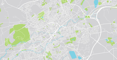 Urban vector city map of Blackburn, England
