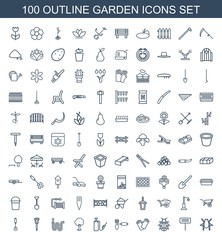 garden icons. Set of 100 outline garden icons included beetle, gardening tool, ladybug, gloves, harden hose on white background. Editable garden icons for web, mobile and infographics.