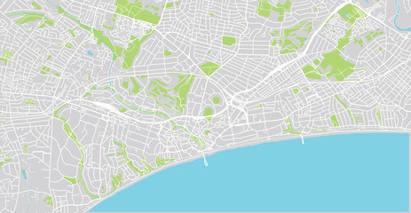 Urban vector city map of Bournemouth, England