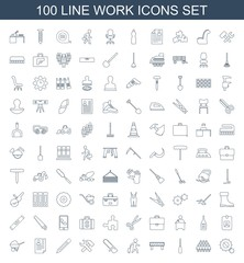 work icons. Set of 100 line work icons included gear, group, screwdriver, barrier, man with luggage, chainsaw on white background. Editable work icons for web, mobile and infographics.