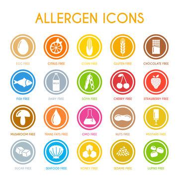 Allergen icons. Vector illustration