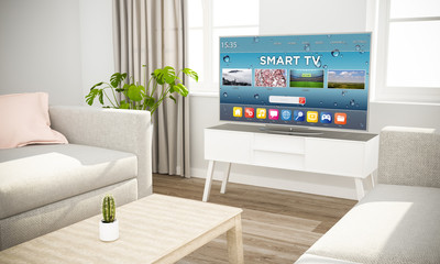 smart connectelevision sofa in scandinavian living room