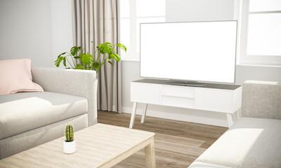 television sofa in scandinavian living room