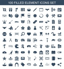 element icons. Set of 100 filled element icons included share, gear heart, fireworks, businessman, water drop on white background. Editable element icons for web, mobile and infographics.